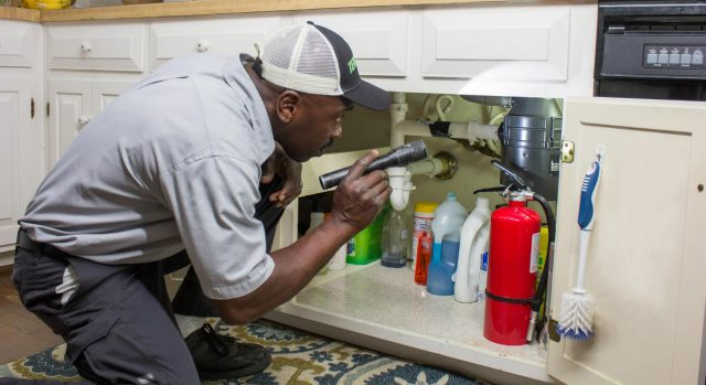 terminix employee checking under the sink